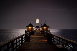 Moon Over Naples Pier,