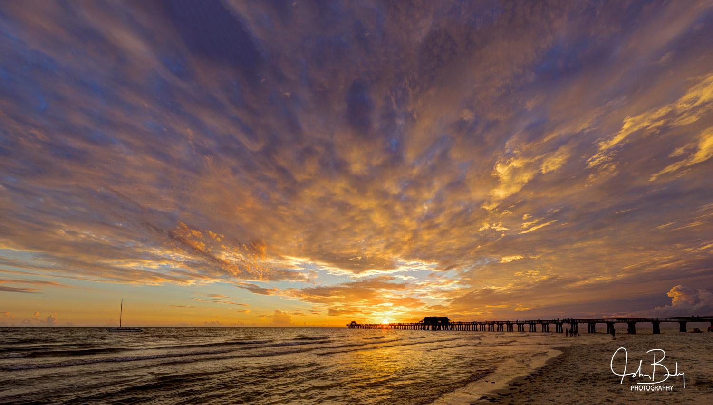 Naples pier, sunset, photo