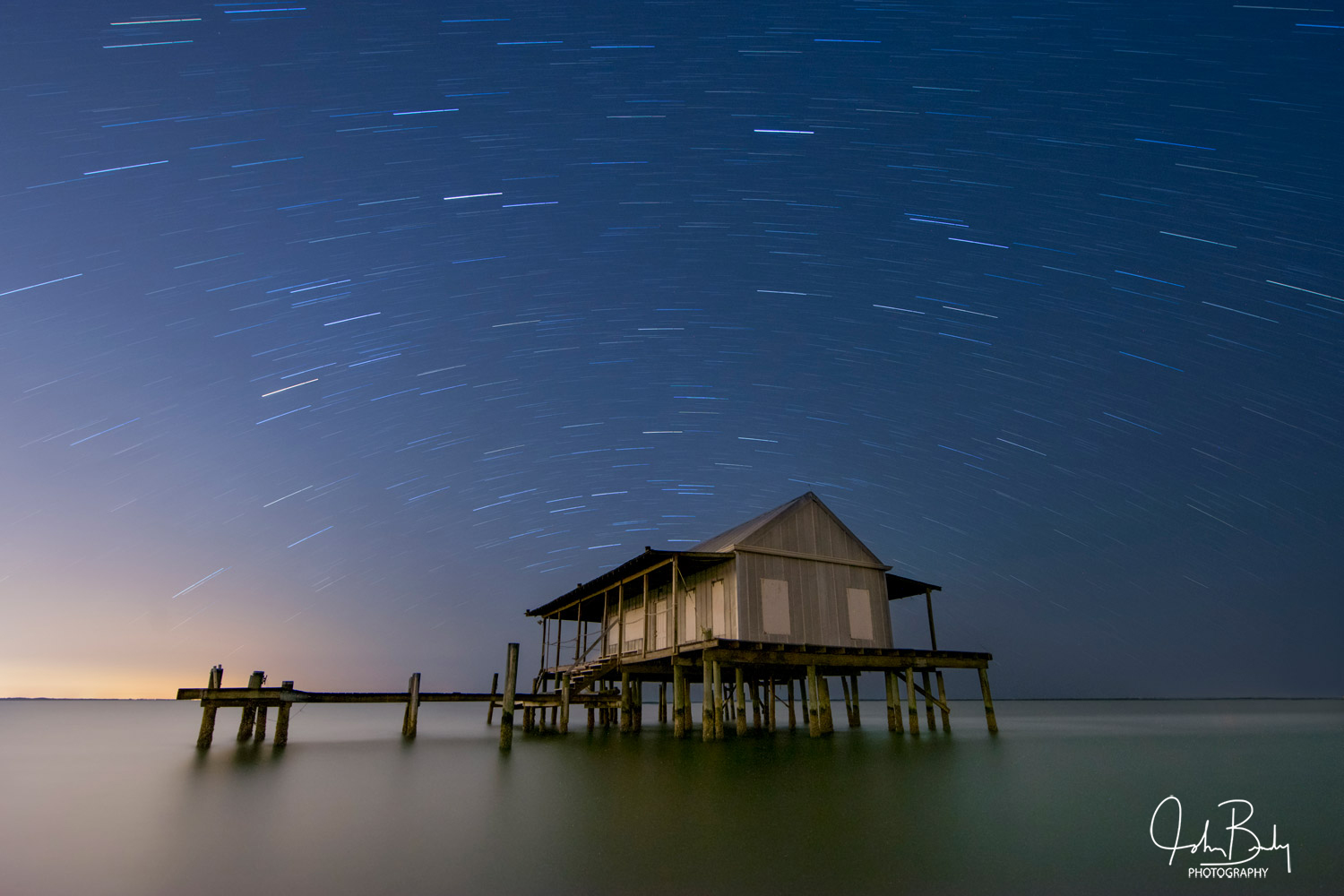 Fish houses, Pine Island Sound, Star Trails, photo